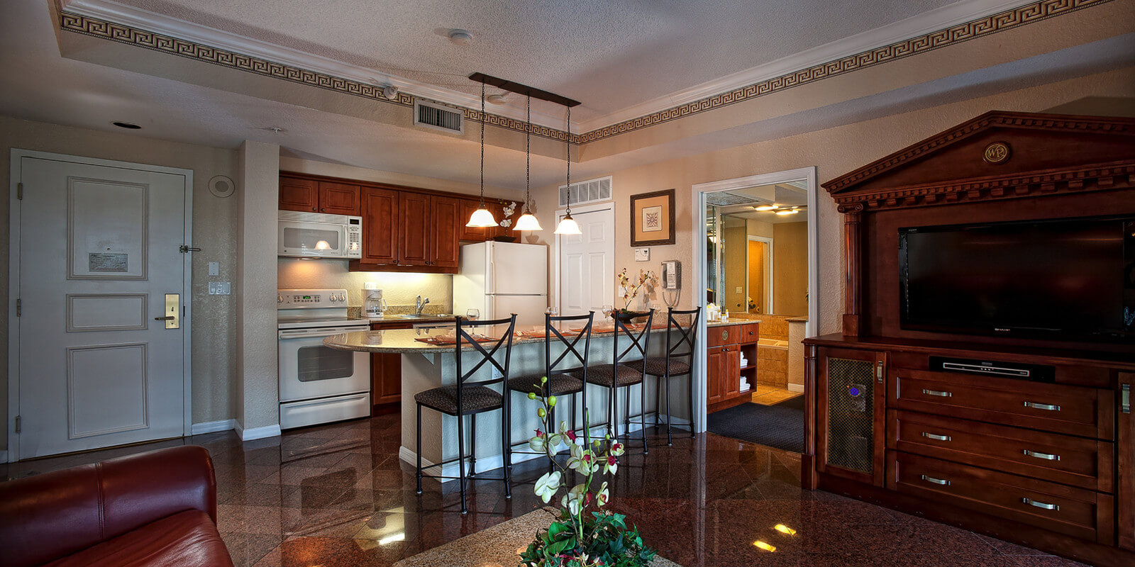 Full Kitchen and Spacious Living Area in Two Bedroom Deluxe Villa    Westgate Palace Resort. Visit Westgate Palace Resort   Spa